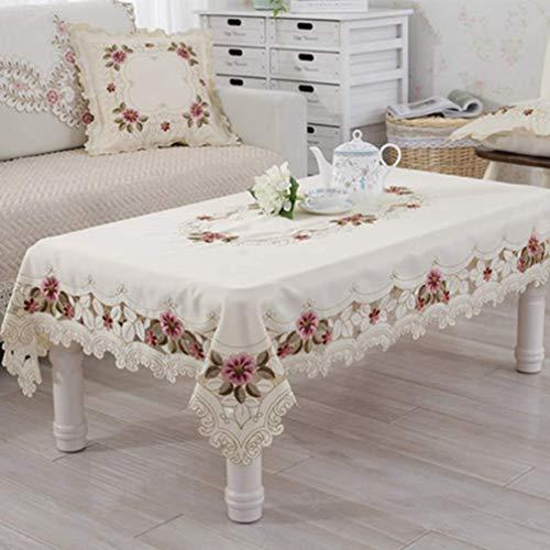 n.g. Familienleben Ausrüstung Elegante Bestickte Rechteckige Tischdecke Tischdekoration Esstisch Abdeckung Hochzeit Verdicken Rose Blume Stuhl Abdeckung