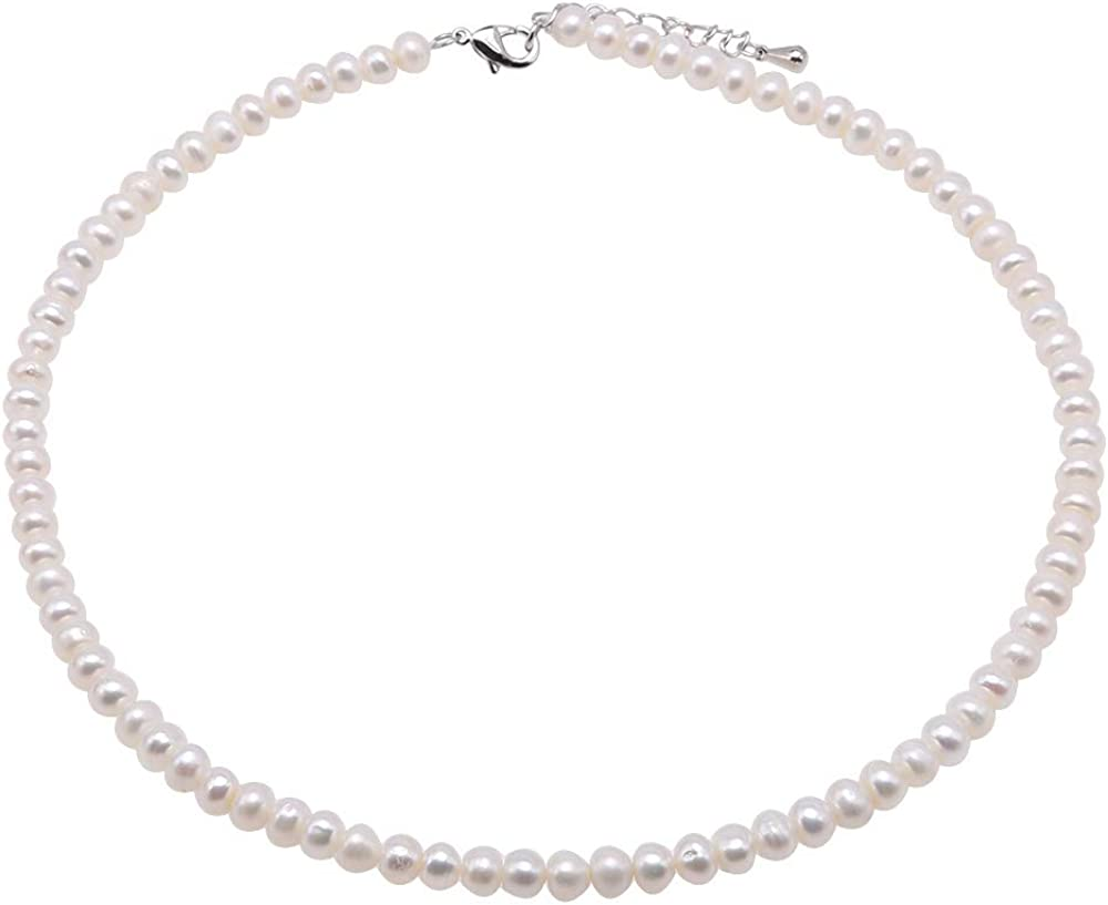 JYX Pearl Necklace Classic Choker Flatly Round 6-7mm Cultured Freshwater White Pearl Necklace for Women 16.5