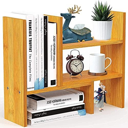 Pipishell Bureauplank Oragnizer, natuurlijke bamboe verstelbare bureauboekenkast, eenvoudig te monteren aanrecht boekenplank, vrijstaande bureauopslag voor kantoor, woondecoratie, keuken, enz
