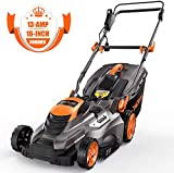 TACKLIFE Lawn Mower, 16-Inch Electric Lawn Mower, 5 Central Adjustable Cutting Heights, Vertical Storage, Quick Folding, 3 Handle Lengths, Tool-Free Assembly, 13-Amp Corded Lawn Mower - KALM1540A