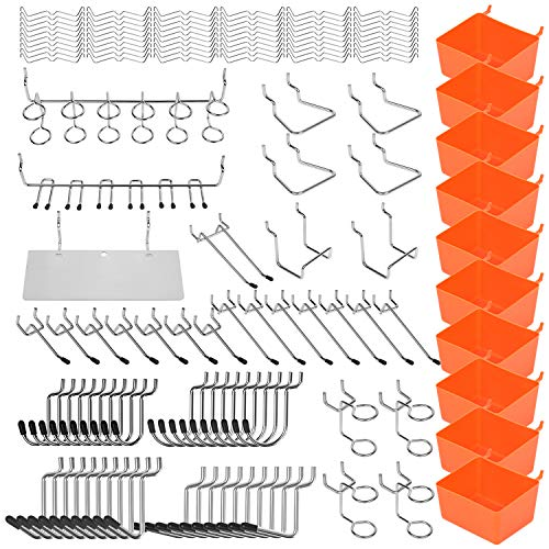 HORUSDY 142-Piece Pegboard Hooks Assortment, Pegboard Accessories with Pegboard Bins for Organizing Various Tools