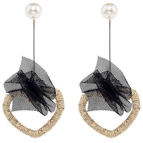 Thumby Sen Retro Stroh Ohrringe Herzförmige Liebe Herzförmige Ohrringe Temperament Persönlichkeit Hipster Strand Sandalen Ohrringe, schwarz