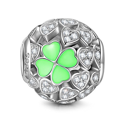 NINAQUEEN Pandora Charms Fitted Charm Christmäs Gifts for Women Green Four Leaf Clover 925 Silver Jewellery for Women with Jewellery Box