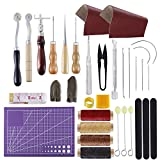 BUTUZE Versatile Leather Repair Purse Kit 34 PCS Leather Working Supplies,Leather Making Tool Kit with Awl,Waxed Thread,Groover, Wool Dauber, Leather Kits for Beginner