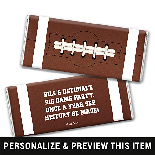 Football Themed Birthday Favors Personalized Chocolate Bar Wrappers - Silver Foil (25 Count)