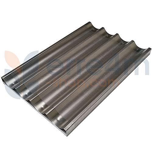 Erre4m Teglia da Forno Forata per baguettes da cm. 60x40 con traversino in Alluminio Professionale