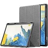 INFILAND Funda Case para Samsung Galaxy Tab S7+/S7 Plus/S7 FE 12.4 Pulgadas, Estuche Carcasa TPU para S Pen, Book Cover con Auto Reposo/Activación, Gris