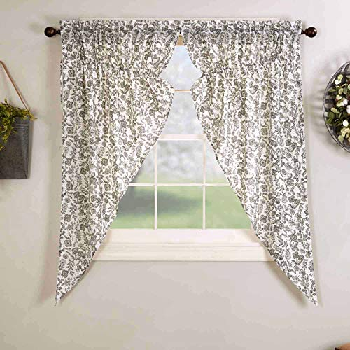 """Gray Gables Floral Prairie Curtains, Set of 2 Drawstring Gathered Swags, 63"""" Long, Botanical Print, Farmhouse Vintage Country Cottage Window"""