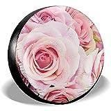Olive Croft Cute Pink Pastel Roses Reserveradabdeckung Universal Radabdeckungen für Anhänger RV SUV LKW Fahrzeuge 14-17inch