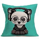 Royalours Pillow Covers Funny Animals Adorable Panda Baby Wearing Glasses & Headphones Decorative Cotton Linen Throw Pillow Cover Cushion Case 18' x 18' Square Pillowcase (Panda)