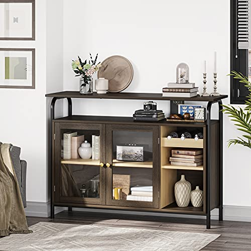 Tiptiper Modern Buffet Cabinet, Kitchen Buffet Storage Cabinet with Wine Racks, Freestanding Buffet Table with Glass Doors & Shelves, Storage Sideboard with Cupboard, Dining Room Living Room Entryway