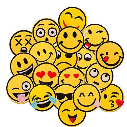 Broderie patch,Dancepandas 20 pcs emoji-Expression coudre patches Thermocollant pour Vêtement T-shirt Jeans Veste Sac DIY