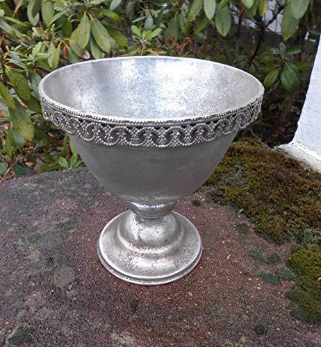 Deko-Impression Verzierter Übertopf Amphore Pflanztopf Vase Schale Eisen Silber-Antik