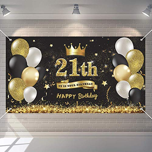 tiantian 21th Birthday Black Gold Party Decoration, Birthday Backdrop Banner, Large Fabric Sign Poster 21th Happy Birthday Party Supplies, 21th Anniversary Backdrop Banner Photo Booth Background