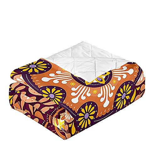 Oduo Colcha Bouti Cama de Verano, Microfibra Cubrecama Multiusos Suave para Cama de Matrimonio, Lavable Acolchada Edredón Ligero Manta para Todas Las Estaciones (Mandala,100x150cm)