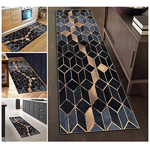 Teppich Läufer Flur Blau Schwarz Waschbare rutschfest Lange 80x150cm, Geometrische Muster Polyester Verblassen Nicht, 3 Farben 25 Größen Erhältlich Anpassbar (Color : Color1)