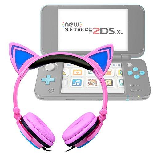 DURAGADGET Casque Audio Rose Lumineux Compatible avec Console de Jeux Nintendo 2DS XL - Oreilles de Chat