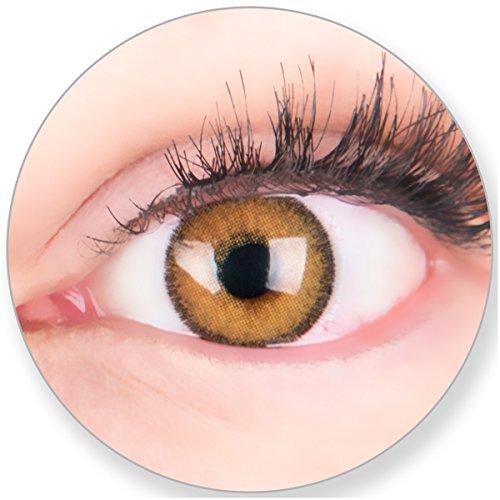 Glamlens Kontaktlinsen farbig braun ohne und mit Stärke - mit Kontaktlinsenbehälter.Sehr stark deckende natürliche braune farbige Monatslinsen Rostbraun 1 Paar weich Silikon Hydrogel 0.0 Dioptrien