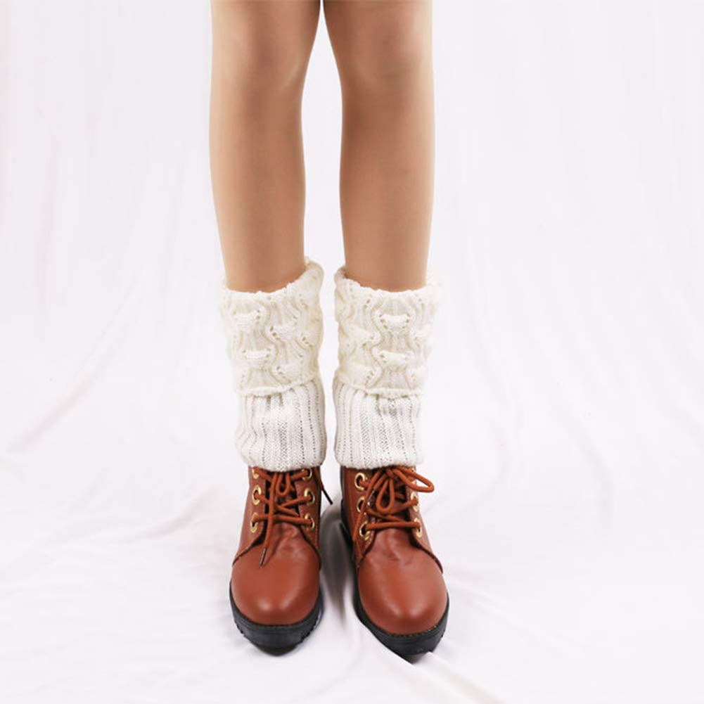 MoreChioce Womens Winter Warm knitted Leg Warmers,Winter Ankle Knee Boot Socks for Girls Ladies Adults