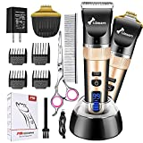 Gimars 2 in 1 Dog Shaver Clippers Low Noise, 3-Speed High Power Quiet Rechargeable Dog Grooming Hair Clippers Kit with USB Cordless Electric for Dog, Cat Pet