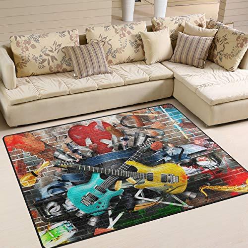Use7?Aquarelle Guitare Musique Mur de Brique Zone Tapis Tapis Tapis pour Le Salon Chambre ¨¤ Coucher, Tissu, Multicolore, 203cm x 147.3cm(7 x 5 Feet)
