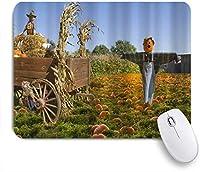 ZOMOY マウスパッド 個性的 おしゃれ 柔軟 かわいい ゴム製裏面 ゲーミングマウスパッド PC ノートパソコン オフィス用 デスクマット 滑り止め 耐久性が良い おもしろいパターン (感謝祭のハロウィーンの素朴な農場パンプキンフィールドファームハウス秋の収穫かかし)