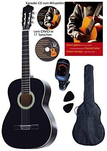 Guitarra de concierto 4/4, negra, con diapasón y puente de Rosewood, con tapas de abeto, DVD de aprendizaje, CD de karaoke, cancionero, funda acolchada con correas de espalda, 2 púas, afinador digital, set de iniciación