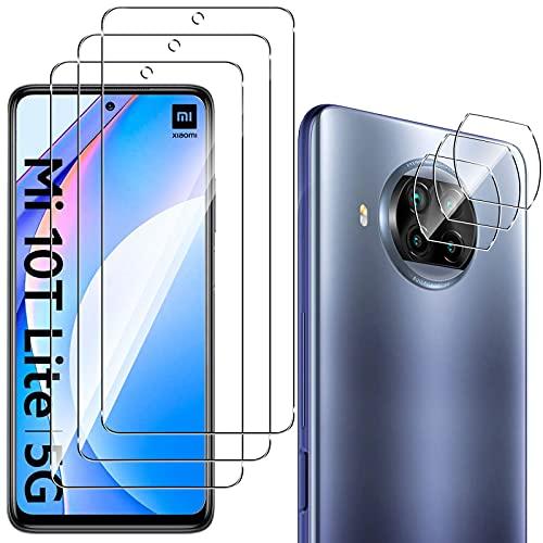 QULLOO Protector de Pantalla para Xiaomi Mi 10T Lite 5G [3 Piezas] + Protector de Lente de Cámara [3 Piezas], 9H HD Alta Sensibilidad Cristal Templado para Xiaomi Mi 10T Lite