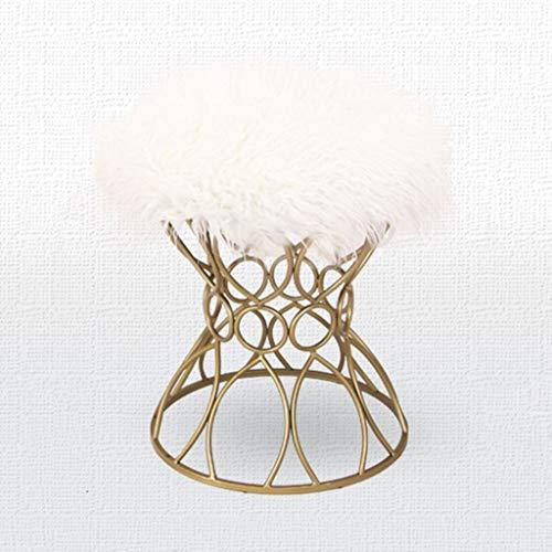 HAIYING Tabouret Rond Golden Legs en Peluche Métal Fashion Ottoman Maquillage Dressing Dinant La Chaise Table À Thé Tabouret Chaise Salon Dressing Tabouret (Couleur: Noir, Gris, Blanc)
