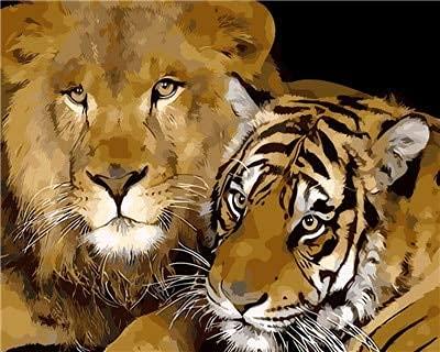 Beaxqb Kit de Pintura al óleo por números Animal Tigre Adultos niños Pintura por número Kits Pared LienzoArte decoración del hogar 40x50cm Sin Marco