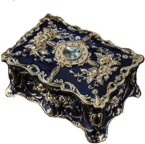 Exquisito, a la moda, generoso, digno de posses joyero vintage europeo joyero rectangular decorativo coleccionable joyero joyero para mujer (color: azul)