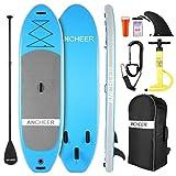 ANCHEER Tavola da Surf Stand Up Paddle 305×76×15cm SUP Board Gonfiabile con Accessori,capacità di Carico di 130 kg,3 PCS Polpa Regolabile, Pompa a Mano a Doppia,Cinghia per i Piedi,Zaino (Blue)