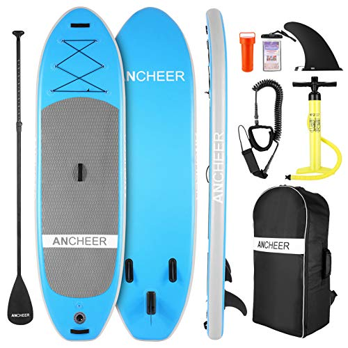 ANCHEER Tabla Paddle Surf Hinchable con a ccesorios y Bolsa de Transporte para Sup Gratis,Remo Ajustable,Bomba de Aire,Correa para el pie,Aleta, Kit de reparación,para jóvenes,Adultos y Principiantes