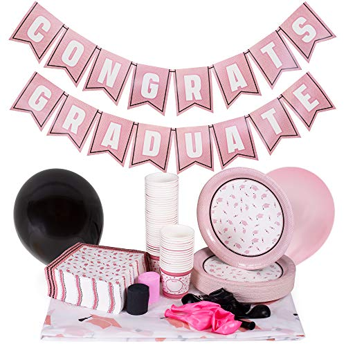 Rose Gold Graduation Party Supplies | Decoration Kit Includes Custom Tablecloth, Pennant Banner, 50 Plates, 15 Balloons, 100 Napkins, 50 Snack Cups | High School, College, and Kids Grad Accessories