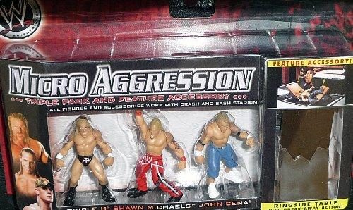 WWE Wrestling Micro Aggression Series 1 Figure 3Pack Triple H, John Cena Shawn Michaels