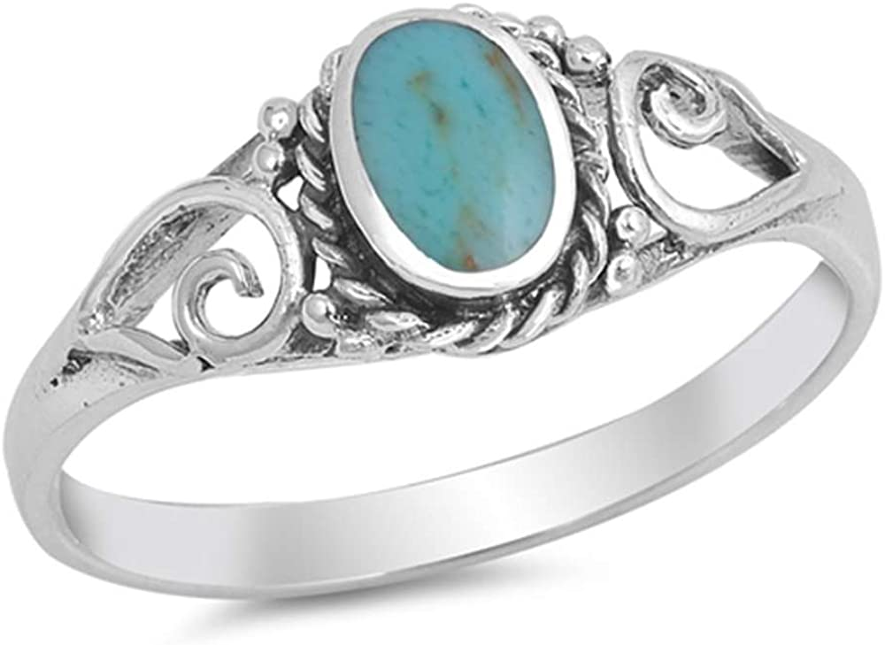 Oxford Diamond Super Special SALE held Co Sterling Max 75% OFF Silver Antiq Oval Turquoise Simulated