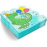 Tovaglioli per festa di compleanno con dinosauro (15,9 x 15,9 cm, confezione da 50