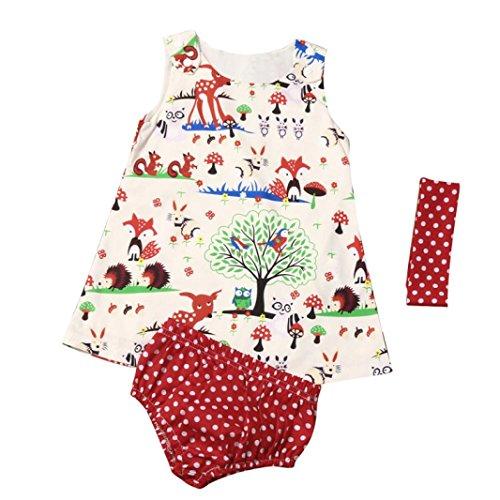 Bebé niñas Bosques Vestido Princesa + Punto Pantalones Cortos + Venda 3 Piezas Juego de Ropa (6-12 Mes, Multicolor)