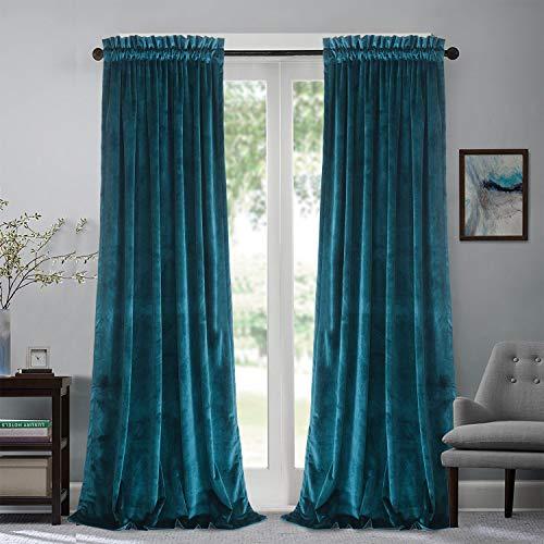 Roslynwood Velvet Curtain Panels Peacock Blue Block Light Window Super Soft Luxury Drapes for Bedroom Thermal Insulated Rod Pocket Curtain for Living Room/52Wx96L Peacock Blue, 2 Panels