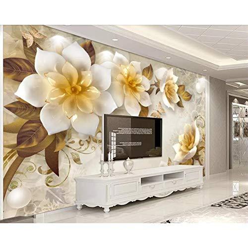 GUDOJK muurschildering behang 3D driedimensionaal reliëf theebloem retro TV achtergrond wanden decoratie 3D behang 100x150cm