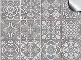 Tile Style Decals 24 Pz Grigio Adesivi per Piastrelle Formato 10 x 10cm Cucina Adesivi per Piastrelle per Bagno Adesivi - Coperture per Piastrelle in Vinile Piatto Stampato in 2D Sottile Grigio