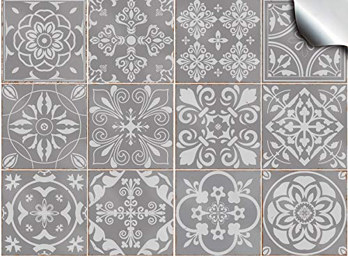 Tile Style Decals 24 Pz Grigio Adesivi per Piastrelle Formato 15 x 15 cm Cucina Adesivi per Piastrelle per Bagno Adesivi - Coperture per Piastrelle in Vinile Piatto Stampato in 2D Sottile Grigio