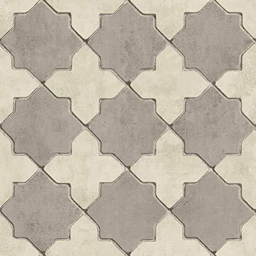 Vliesbehang Tegeltjes behang Tegel behang Beige/Creme Grijs 374215 37421-5 A.S. Création New Walls | Beige/Creme/Grijs | Rol (10,05 x 0,53 m) = 5,33 m²