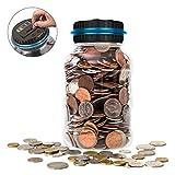 Upgrade Digital Coin Counter, Big 1.8L LCD Display Piggy Bank Money Savings Jar