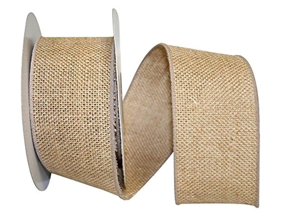 Reliant Ribbon 90358W-750-40F Hey Jute Burlap Wired Edge Ribbon, 2-1/2 Inch X 10 Yards, Natural