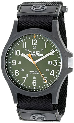 Timex Relógio masculino Expedition Acadia tamanho grande, Pulseira Preta/Verde