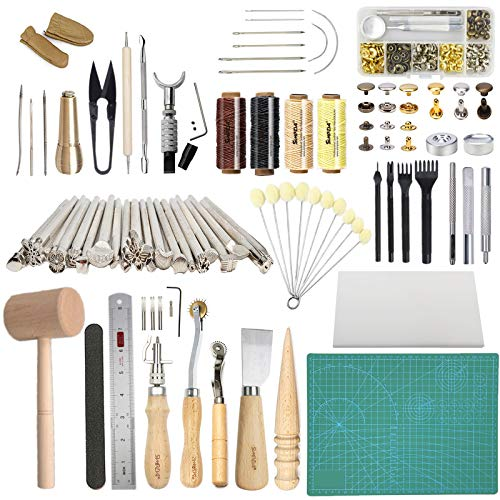Leather Working Tools SIMPZIA 131PCS Leathercraft Tools with 20PCS Leather Stamping Tools, Cutting Mat, Stitching Groover, Prong Punch, Snaps and Rivets Kit, Leather Tooling Kit for DIY Leather Craft