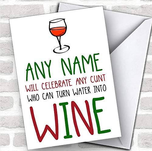Offensieve draai water naar wijn grappige grap aangepaste kerst groeten kaart