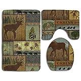Rústico Lodge Bear Moose, Paquete de 3 Alfombrillas de baño, Franela Antideslizante para Hombres y Mujeres, Asientos de Inodoro antibacterianos, alfombras de baño