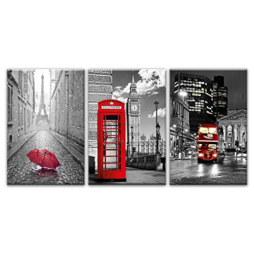 HNTHBZ Moderne Wand-Kunst-Bilder 3 Stück Paris Schwarz Weiß Eiffelturm-Rot-Auto Regenschirme Ölgemälde Poster Wohnkultur Leinwand Gemälde (Size (Inch) : 50cmx70cmx3psc)